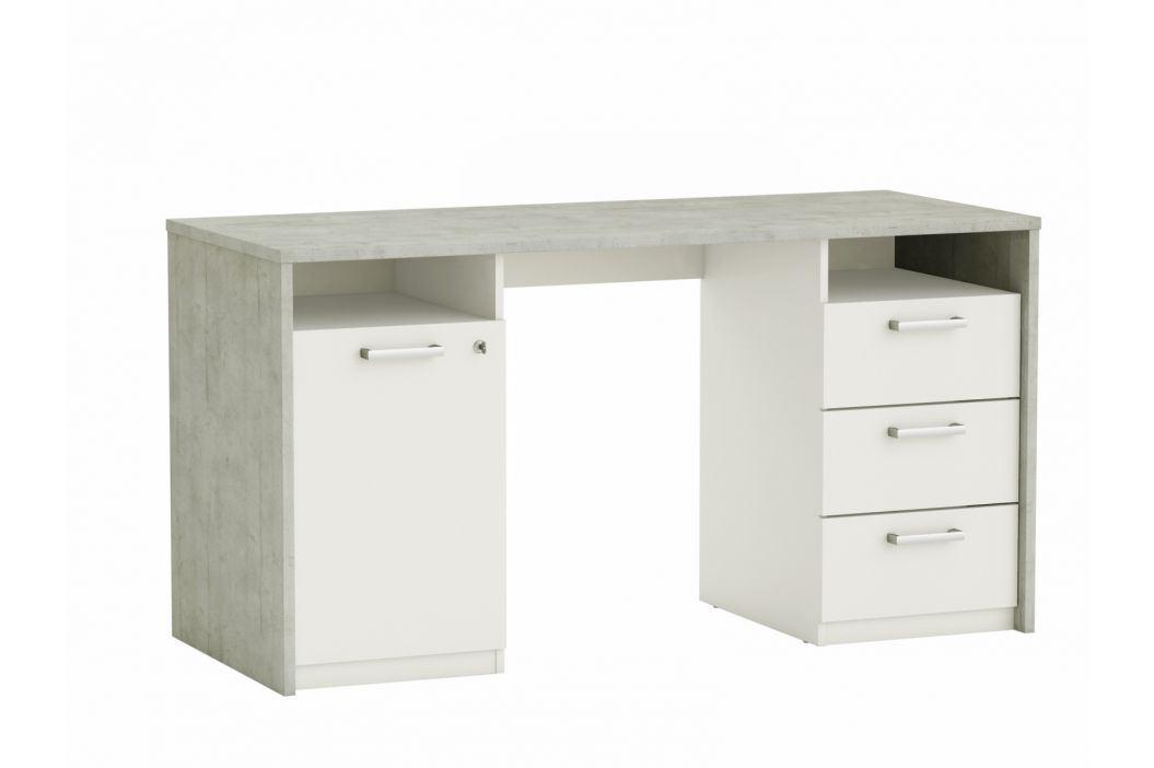 STANFORD psací stůl, bílá/beton psací stůl, bílá/beton