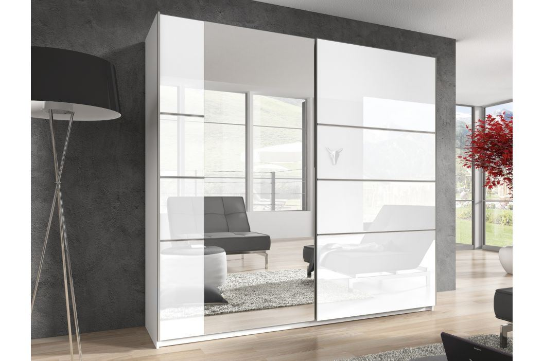 BETA šatní skříň se zrcadlem 200 TYP 57, bílá/bílý lesk Šatní skříně