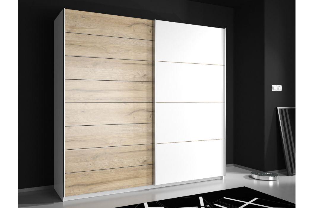 JAWA skříň JWS328E3, dub bianco/bílá Šatní skříně
