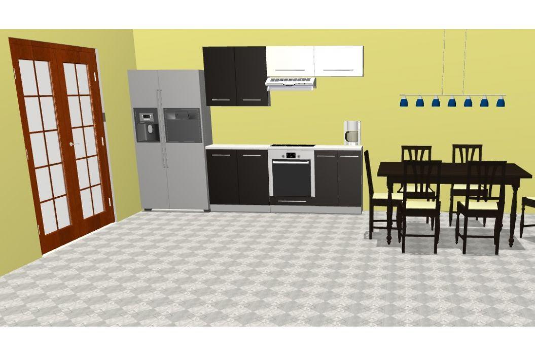 Kuchyně PLATINUM 200 cm, korpus grey, dvířka black + vanilla Kuchyňské linky