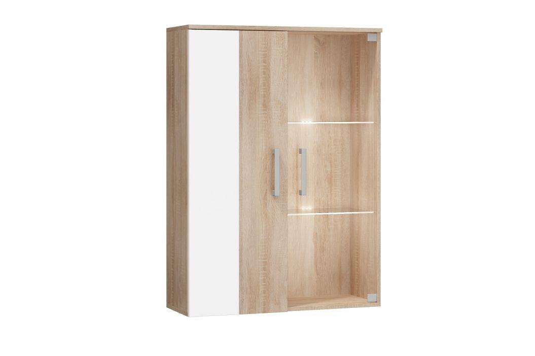 STELLA, závěsná skříňka, barva: dub sonoma/bílý lesk Regály a poličky
