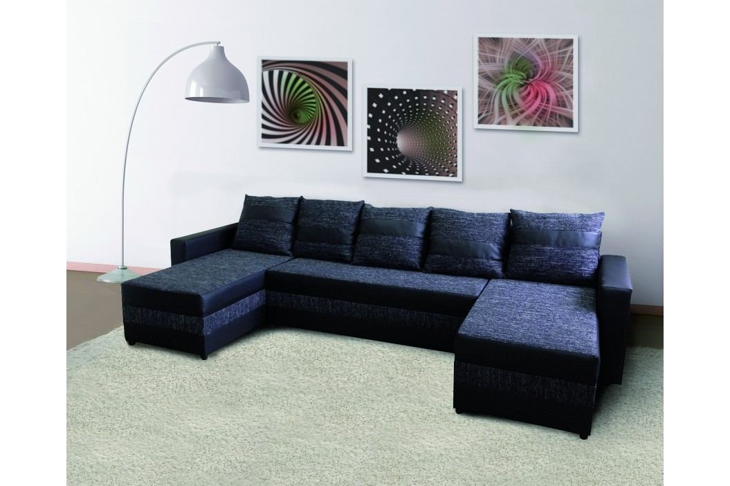 Moderní bílá smartshop Rohová sedačka FUGAZI, černá/černá ekokůže látková s úložným prostorem