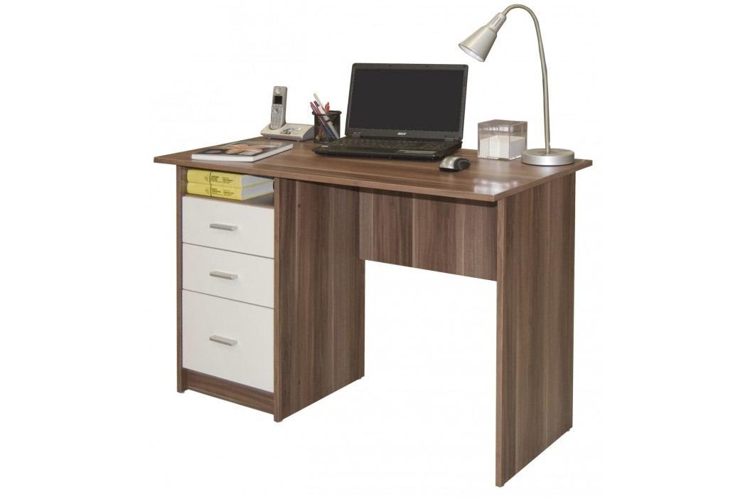 MB Domus Psací stůl se šuplíky SIMON, švestka/bílá Psací stoly