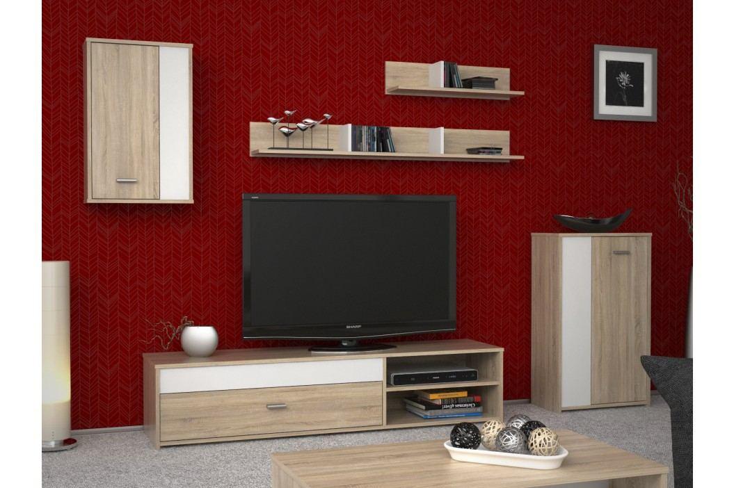 Bílá obývací stěna ASOLE, bílý/dub sonoma dekor dub Obývací stěny
