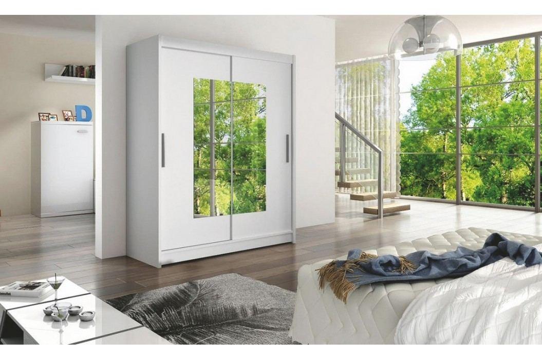 Smartshop WESTA III šatní skříň s posuvnými dveřmi, bílá DOPRODEJ lamino Šatní skříně