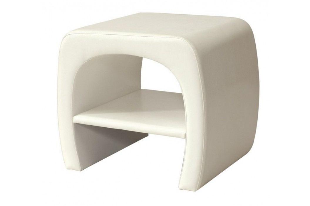 Moderní bílá smartshop Noční stolek ORLEANS, bílá ekokůže dřevěná