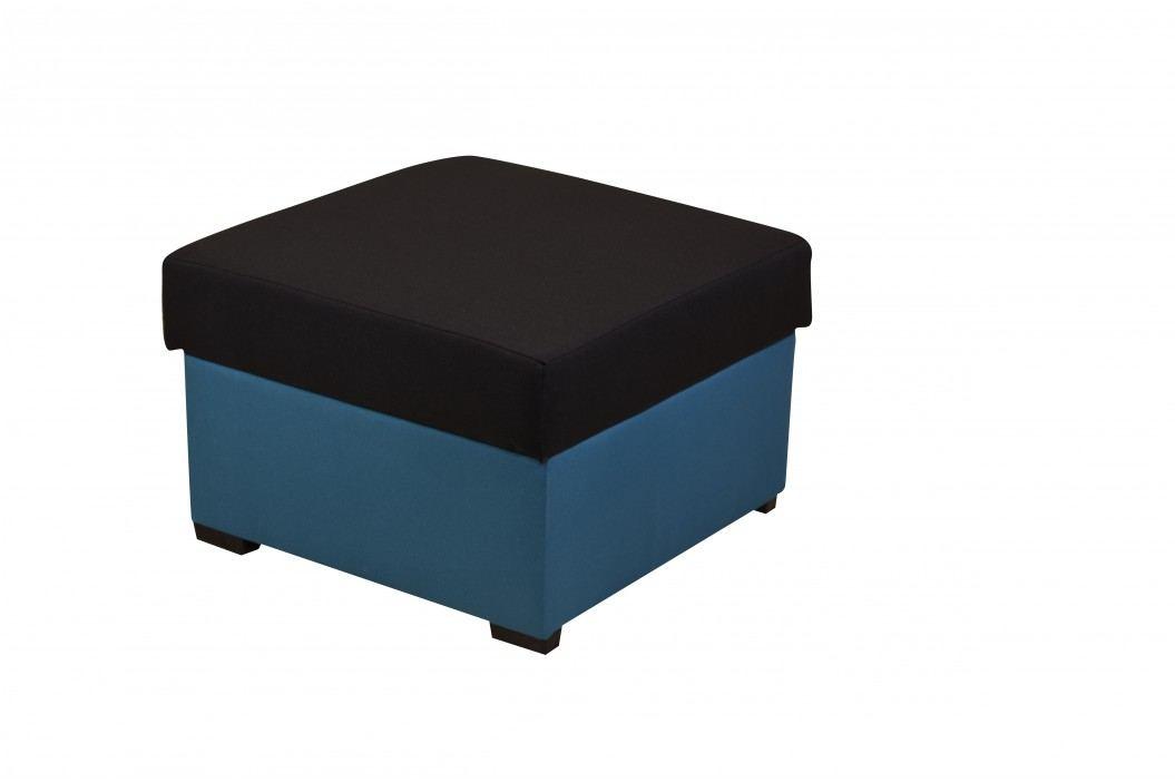 SmartShop Taburet MORY KORNER, černá/modrá, (šxhxv): 60x60x39 cm látková