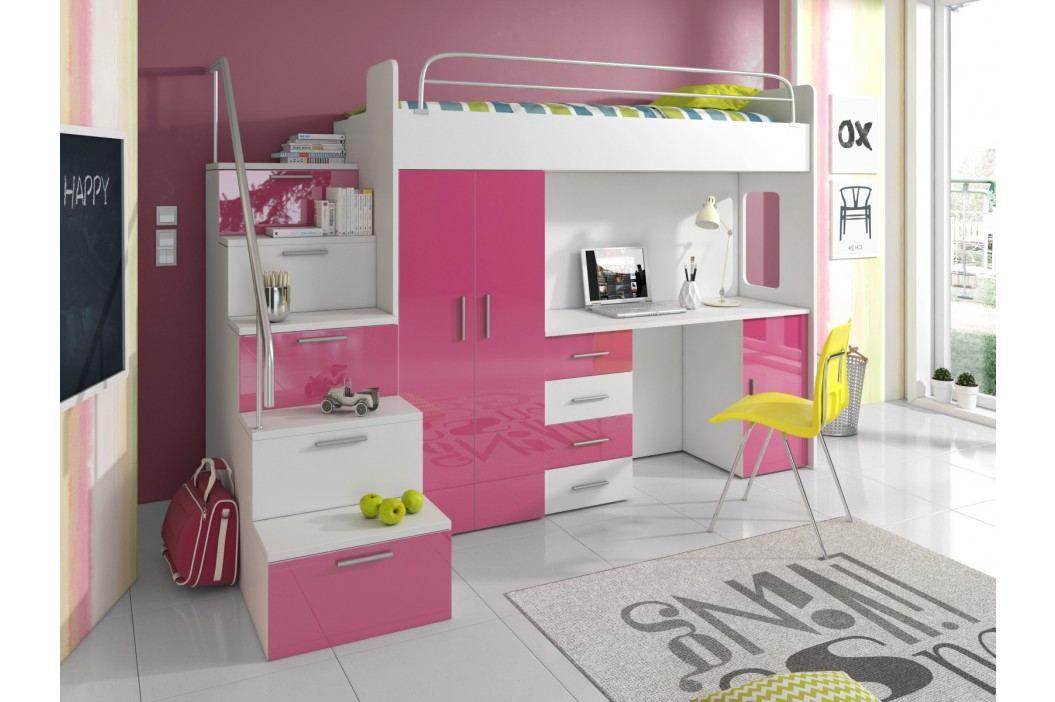 Smartshop Patrová postel se skříní a psacím stolem RAJ 4S, bílá/růžová lamino Postele