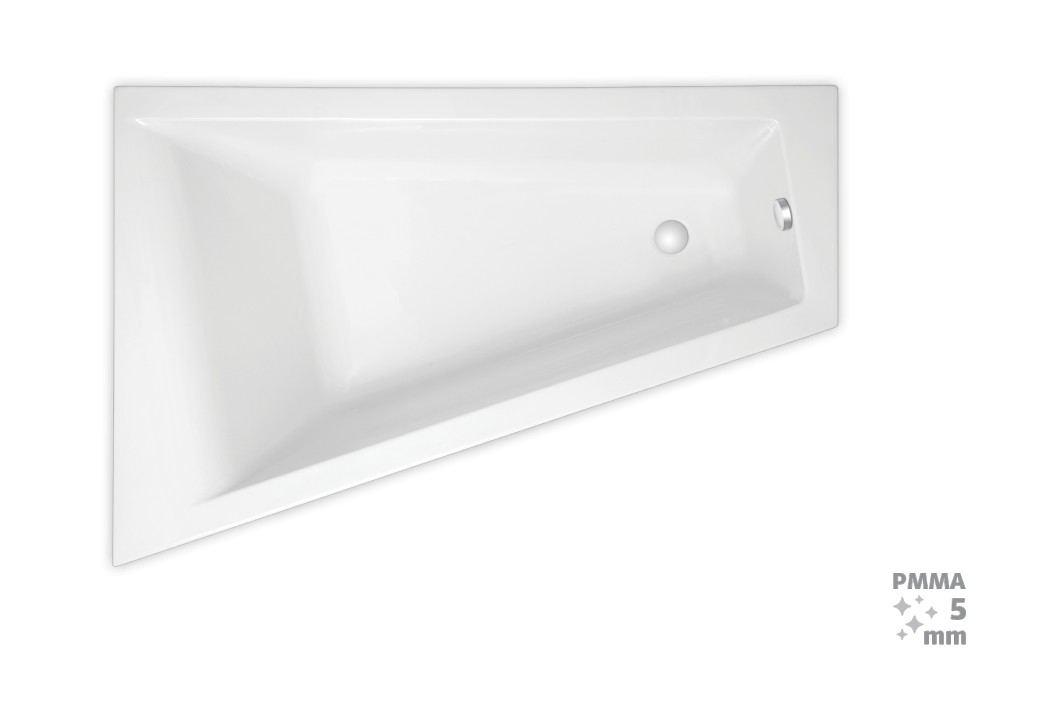 Rohová vana Laguna Idea Plus 160x100 cm, levá, 100% akrylát, 200 l ID1600LPLUS