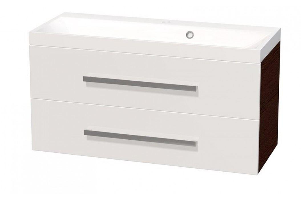 Skříňka s umyvadlem Naturel Cube Way 100 cm, bílá/wenge CUBE2100ZW Koupelnový nábytek
