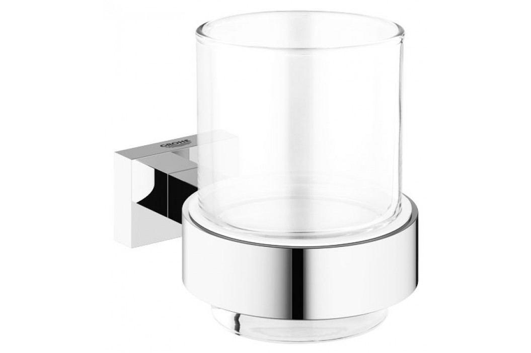 Grohe Essentials Cube - Sklenička s držákem, chrom 40755001 Stojany na kartáčky