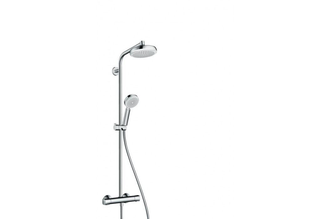 Hansgrohe Crometta 160 - Sprchová souprava Showerpipe 180 mm 1jet s termostatem, bílá/chrom 27264400 Koupelnové baterie