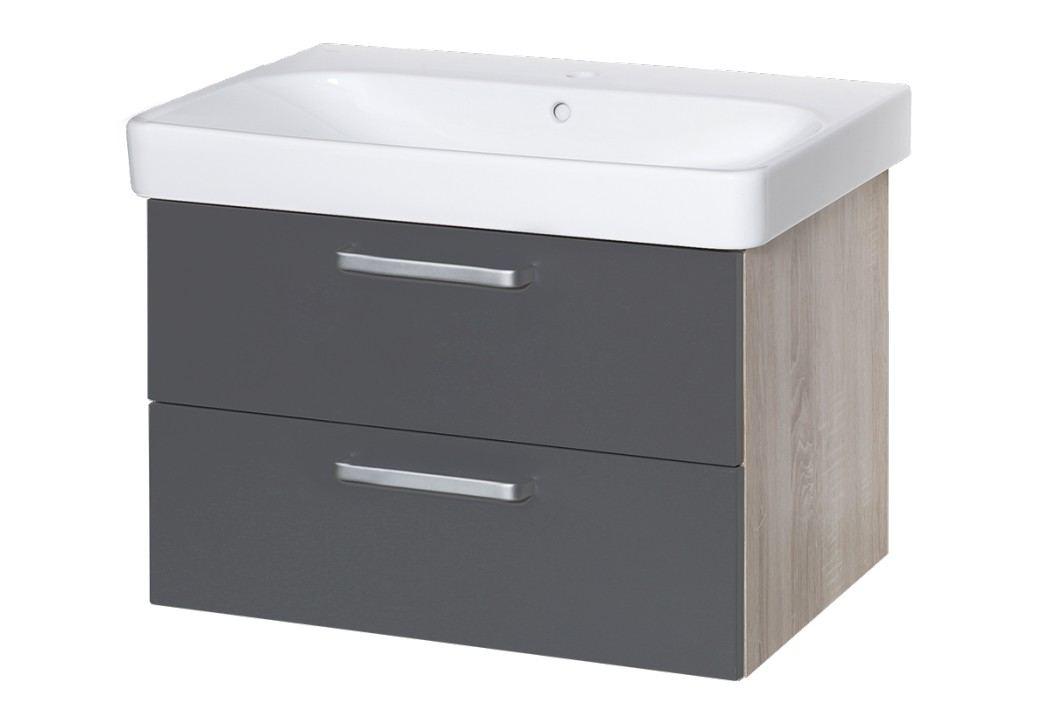 Skříňka s umyvadlem Naturel Vario Dekor 75 cm, grafit VARIO75ZDBGL Koupelnový nábytek