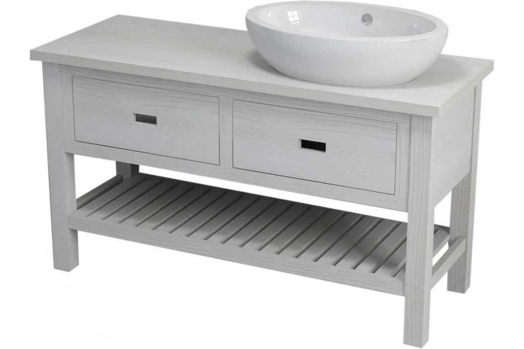 Skříňka pod umyvadlo Naturel Provence 130 cm, bílá SIKONSB132 Koupelnový nábytek