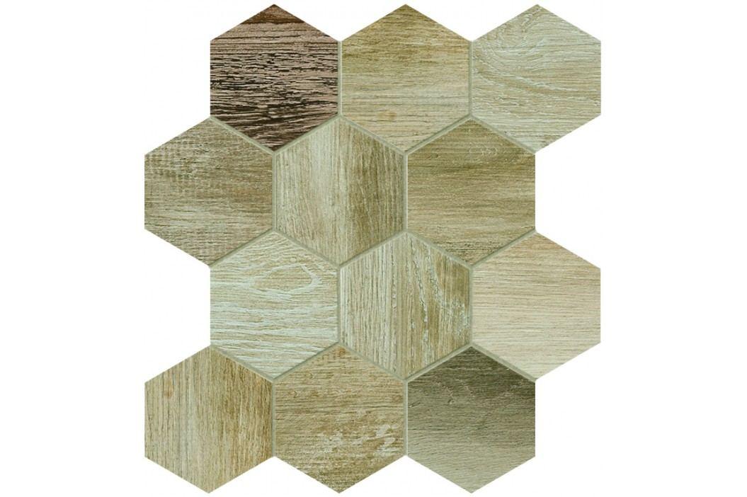 Dlažba Dom Barn Wood beige hexagon 35x37,5 cm, mat, rektifikovaná DBWEM20 Obklady a dlažby