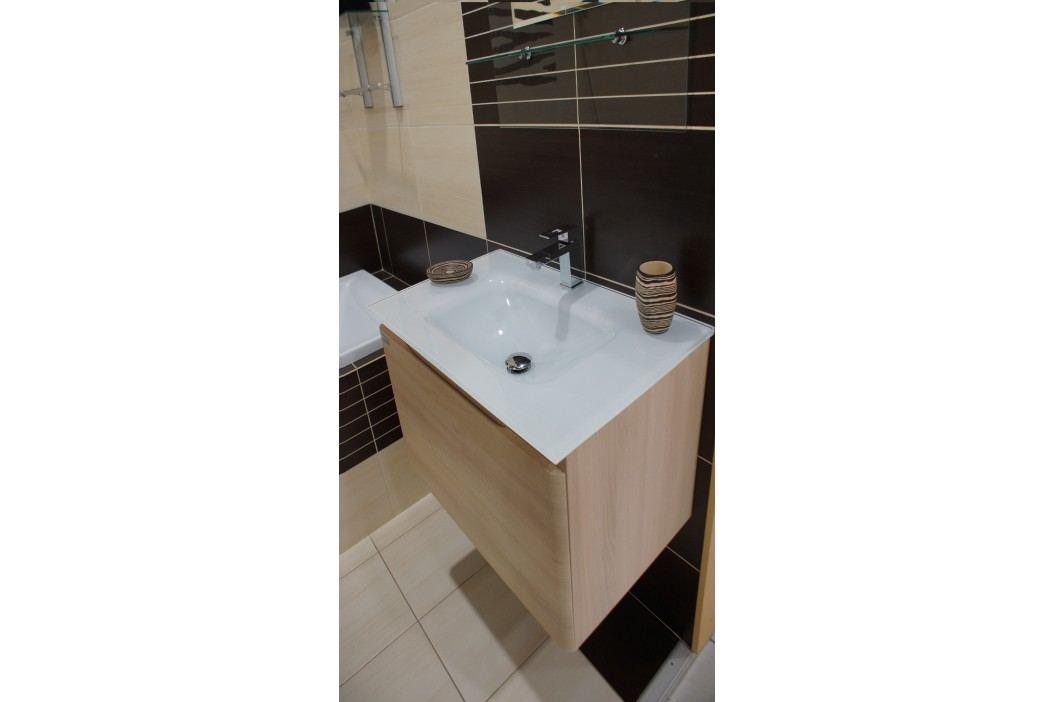 Skříňka s umyvadlem ze skla Naturel Ancona 60 cm, akácie ANCONAS60Z Koupelnový nábytek