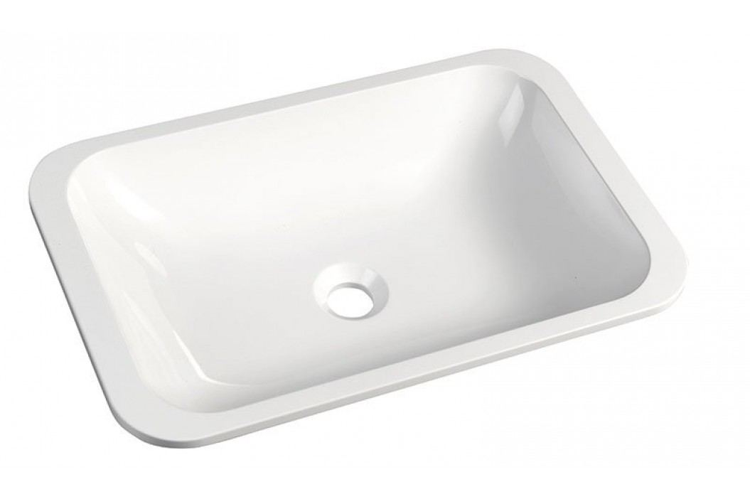 JAPURA umyvadlo 55x36 cm, litý mramor, bílá, zápustné