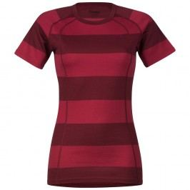 Bergans Merino Fjellrapp Lady Tee Red/Burgundy Striped M