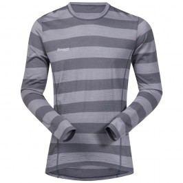 Bergans Merino Soleie Shirt SolidDkGrey/SolidGrey Striped L
