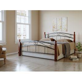 NEJBY, postel 180x200 cm s roštem, masiv/kov, třešeň antická