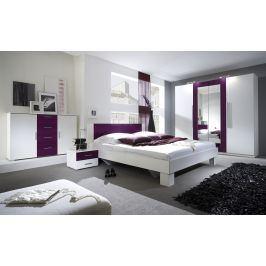 VERA postel 180x200 cm s nočními stolky, bílá/fialová