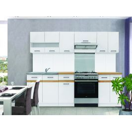 Kuchyně JUNONA 180/240 cm, korpus bílý/dvířka bílý lesk