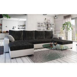 Rohová sedačka TRIPOLIS U, černá látka/bílá ekokůže