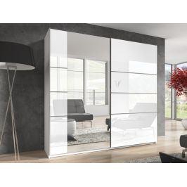 BETA šatní skříň se zrcadlem 200 TYP 57, bílá/bílý lesk
