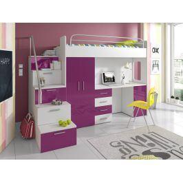 Patrová postel se skříní a psacím stolem RAJ 4S, bílá/fialová