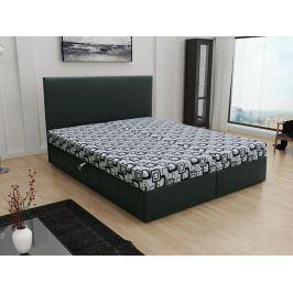 Čalouněná postel JERRY 180x200, šedá látka se vzorem/černá ekokůže