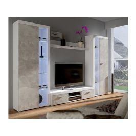 Obývací stěna RUMBA XL, bílá/beton