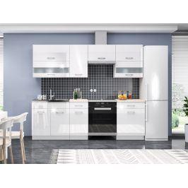 Kuchyně RIO 180/240 cm, korpus bílý mat, dvířka bílý lesk