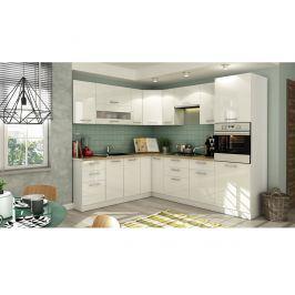 Rohová kuchyně TIFFANY 215x250 cm, bílý lesk