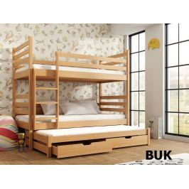 Patrová postel s přistýlkou TOMI 90x200 cm, masiv borovice/barva: buk