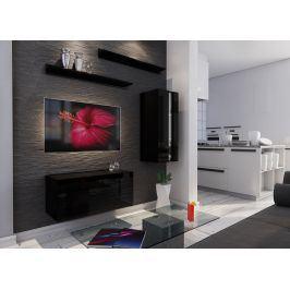 Obývací stěna BOX 11, černá/černý lesk