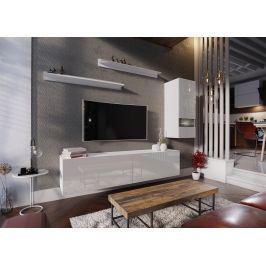 Obývací stěna BOX 10, bílá/bílý lesk