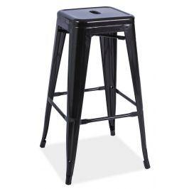 Barová kovová židle LONG, černá