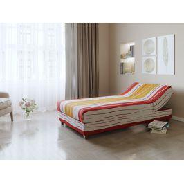 Krémovo-oranžovo-červená čalouněná postel NEJBY 90x198 cm