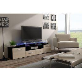 Televizní stolek RTV EVORA, černá/jasmínový lesk Z EXPOZICE PRODEJNY