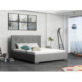 Čalouněná postel SOFIE 1 160x200 cm s roštem a matrací, šedá látka