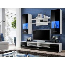 Kvalitní smartshop RENO, obývací stěna, bílá/černý lesk