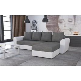 Univerzální smartshop Rohová sedačka FORD 1, šedá látka/bílá ekokůže dřevěná s úložným prostorem