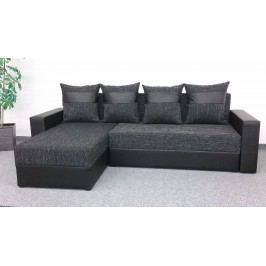Smartshop Rohová sedačka VERA, univerzální provedení, černá látka/černá ekokůže dřevěná s úložným prostorem