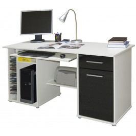 MB Domus Praktický PC stůl LUBOR, bílá/černá
