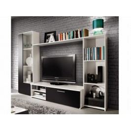Moderní forte Obývací stěna CLOU, bílá/černý mat
