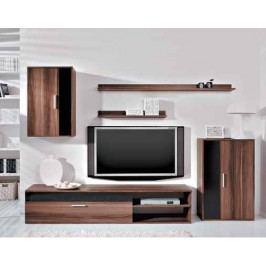 Moderní černá obývací stěna BRW Barato švestka lesk