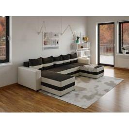 Moderní smartshop Rohová sedačka FUGAZI, černá/bílá ekokůže látková s úložným prostorem