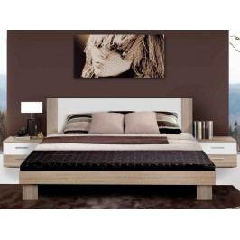 Kvalitní forte HELEN, postel 180x200 cm s nočními stolky, dub sonoma/bílá
