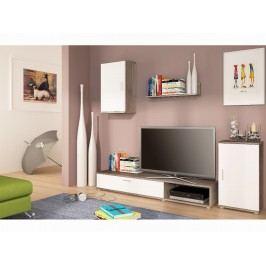 Moderní extom Obývací stěna STYNG, dub kanion/bílá perla lamino