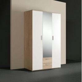 Kvalitní bílá forte kombinovaná skříň NANO, dub sonoma/bilá, (šxvxhl): 121x200x54 cm